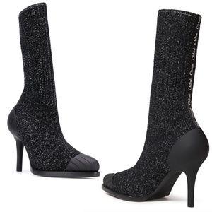 NEW Chloé Tracy Monogram Metallic Sock Ankle Boots